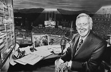 Vin Scully LA Dodgers Painting by Topps Baseball Artist Dave Hobrecht - Canvas