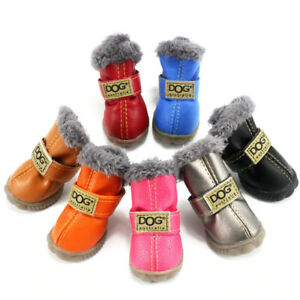 Pet Dog Winter Fur Shoes Warm Cotton Leather Non Slip Cute Boots Boy Girl Puppy