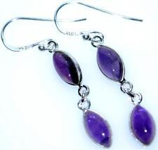 Purple Amethyst Earring Sterling SILVER drop Earrings NEW Gemstone 925 Jewellery