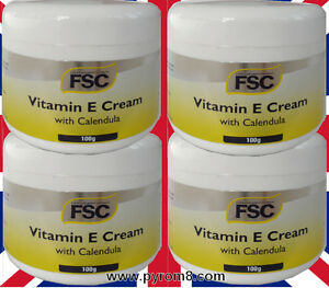 Vitamin E Cream with Calendula 100g by FSC Suitable for Vegans etc x 4 Packs