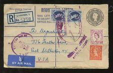 GB REGISTERED STATIONERY 1955..8 1/2d ENV + 3/- + 6 1/2d + US CUSTOMS PORT of NY