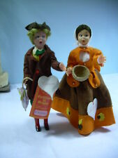 "LENCI dolls BOY + GIRL mascot 9"" + celluloid w TAGS Colonial Felt Outfits PAIR"