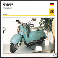 1956 Zundapp 150cc Bella 151 146cc Scooter Moped Motorcycle Photo Spec Info Card