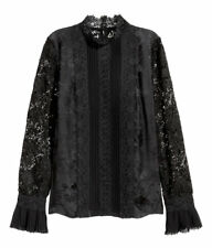 Erdem x H&M Black Lace and Silk Stand Up Collar Blouse- Size 8