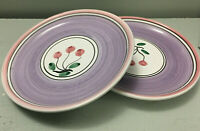 "Set of 2 Orchard by Caleca Italy Cherries Salad Plates Hand Painted 8"" Across"
