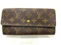 Auth Louis Vuitton Monogram Browns Portefeuille Sarah Long Wallet Y-1053