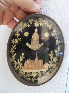 Ancien EX-VOTO cadre verre  Notre Dame de LIESSE