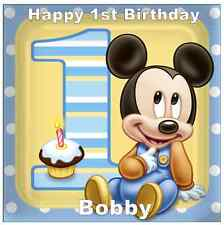 "Mickey Mouse 1st Birthday Personalised Cake Topper Edible Wafer Paper 7.5"" Squ"