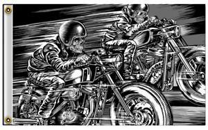 RACING SKULLS  3 X 5 MOTORCYCLE DELUXE BIKER FLAG #695 new SKELETON RIDING BIKE