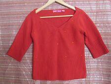 LIVING DOLL Size M Vintage Inspired Red Jumper, 3/4 Sleeves, Sequins, V Neck
