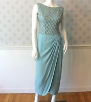 Vintage Mr. Frank Designer Baby Blue and Silver Beaded and Sequin Evening Gown