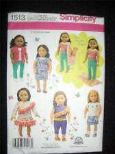 """18"""" DOLL NEW Simplicity 1513 Pattern Summer Clothes Fits American Girl"""