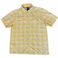 The North Face Short Sleeve Vented Hiking Shirt Men's Size Large Plaid Yellow