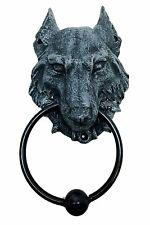 Grey Wolf Door Knocker Metal Ring with Ball Knock House Protector Statue
