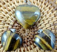 3PC Unique tiger eye Heart-shaped pendant Gem necklace earring Jewelry Making