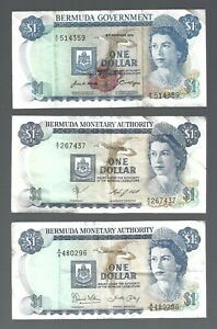 Bermuda ✨ 1970 1984 & 1986 ✨ $1 x 3 QE II banknotes ✨ COLLECTIONS & LOTS #2873