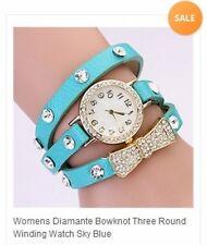 Womens  Diamante Three Round Bowknot Winding Watch Sky Blue