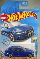 2019 Hot Wheels #214 Factory Fresh 2/10 '17 AUDI RS 6 AVANT Blue w/Chrome Pr5Sp