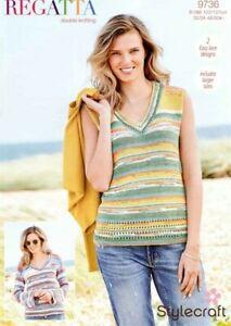 Stylecraft Regatta DK Knitting Pattern 9736 Ladies Long Sleeved & Sleeveless Top