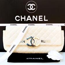 CHANEL France 💯% Authentic Clutch Cruise White Textile Fabric Handbag Bag