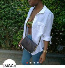 Dark brown printed african satchel style over the shoulder bag