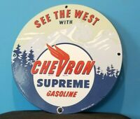 VINTAGE CHEVRON GASOLINE PORCELAIN GAS SERVICE STATION OIL RACK PUMP PLATE SIGN