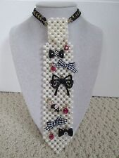 Auth Betsey Johnson Vintage Betsey Bow Mouse Sim Pearl Tie Statement Necklace