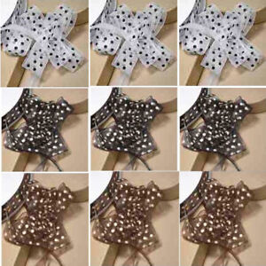 33 SPOTTED ORGANZA PULL BOWS ON A REEL 23mm x 15m  WEDDING CAR DECORATION CRAFT