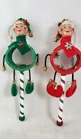"""ELF Figurine Drum Body 11"""" Christmas Ornaments Set of 2 Katherine's Collection"""