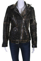 Golden Goose Womens Distressed Leather Motorcycle Jacket Brown Black Size M