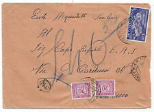 STORIA POSTALE 1951 REPUBBLICA MONTECASSINO 20 LIRE MESSINA 31/7 D/8191