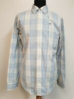 """MENS TOMMY HILFIGER BLUE WHITE CHECK BUTTON COLLAR L/SLEEVE SHIRT S 36"""""""