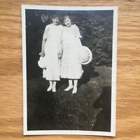 Affectionate Women in White Dresses Vtg Photo Snapshot 1920s Fashion Bonnets