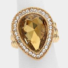 "1"" topaz gold crystal teardrop stretch cocktail ring rhinestones"