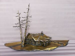 Brass Metal Sculpture Cabin Virgil l. Goodman  1975