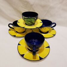 ❀ڿڰۣ❀ PETRA POTZ CERAMICS Set of 4 Hand Painted LEMON TEA CUPS & SAUCERS ❀ڿڰۣ❀