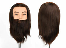 "12"" Cosmetology Man Barber Training Head with Beard Mannequin Doll with Clamp"