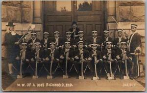 "1910s RICHMOND, Indiana RPPC Real Photo Postcard ""M.W. OF A. 3815"" Woodmen"