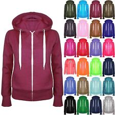 Ladies Plain Zip Up Fleece Hoody Women Sweatshirt Coat Jacket Top Hoodies 6-24