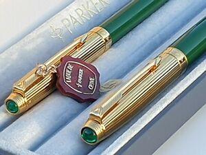 PARKER 75 CUSTOM GREEN FP+BP SET 18k GOLD FINE NIB CABOUCHON JEWELS CASE MINT