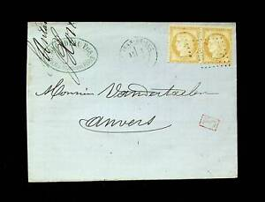 "FRANCE 1873 15c CRERES HEAD PAIR ON COVER W/ BOXED ""PD"" CACHET TO ANVERS BELGIUM"