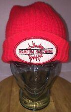 Vintage 70s 80s WAMPUM HARDWARE Red Stocking Hat Beanie Knit Cap OHIO Explosives