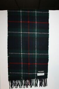 Men's~BROOKS BROTHERS~Green Blue~TARTAN PLAID~Lambswool SCARF~Scotland~FRINGE