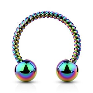 2PC 16G-14G TWISTED BAR SURGICAL STEEL HORSESHOE RING CIRCULAR BARBELLS