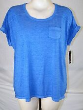 Style & Co NEW Royal Blue Scoop Neck Basic Top Tee Womens Plus Size 0X 10W 12W