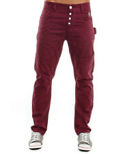 Mens CROSSHATCH Slim Fit Burgundy Combats - Regular Jeans Chino Black 28