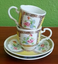 Avon European Tradition Germany Set of 2 Yellow Gold Demitasse Cups & Saucers