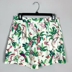 Womens Ann Taylor Ivory Bird Tropical Print Shorts Size 2 XS