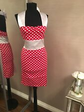 Rockabily Red Spotty Dress Pencil Bow 16 Sexy, Fitted, Vintage, 50's Pin Up Sexy