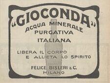 Z1577 GIOCONDA Acqua Minerale Italiana - Pubblicità d'epoca - 1926 Old advert